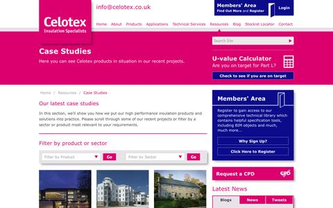Screenshot of Case Studies Page celotex.co.uk - Celotex Insulation Case Studies - captured Oct. 2, 2014