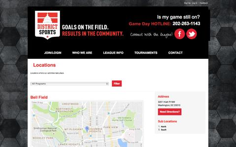 Screenshot of Locations Page districtsports.org - District Sports : Locations - captured Aug. 2, 2016
