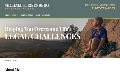 Screenshot of About Page meelawoffice.com - Michael E. Eisenberg | Montgomery County PA Lawyer - captured Nov. 15, 2018