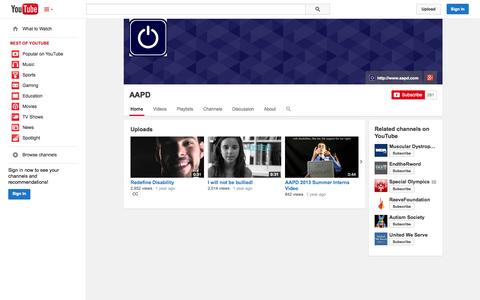 Screenshot of YouTube Page youtube.com - AAPD  - YouTube - captured Oct. 23, 2014