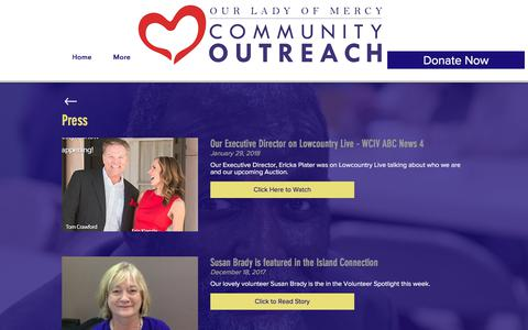 Screenshot of Press Page olmoutreach.org - Our Lady of Mercy Community Outreach - Press - captured Feb. 11, 2018