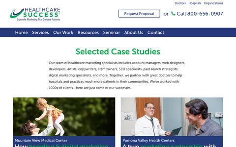 Screenshot of Case Studies Page healthcaresuccess.com - Healthcare Marketing Case Studies   Healthcare Success - captured Aug. 26, 2019