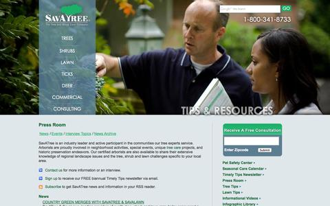 Screenshot of Press Page savatree.com - SavATree Press Room | News - Events - Interview Topics - captured Sept. 23, 2014