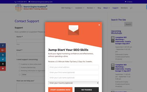 Screenshot of Support Page searchengineacademy.com - Contact Support - captured Aug. 30, 2017