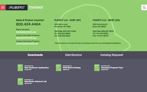 Screenshot of Contact Page flexfit.com - Contact - Flexfit / Yupoong - captured Sept. 25, 2015