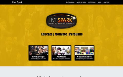 Screenshot of Home Page live-spark.com - Welcome to Live Spark: Transforming Events - captured Sept. 30, 2014