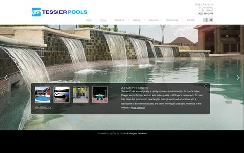 Screenshot of About Page tessierpools.com - About | Tessier Pools - captured Oct. 26, 2014