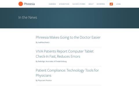 Screenshot of Press Page phreesia.com - In the News — Phreesia.com - captured July 20, 2014
