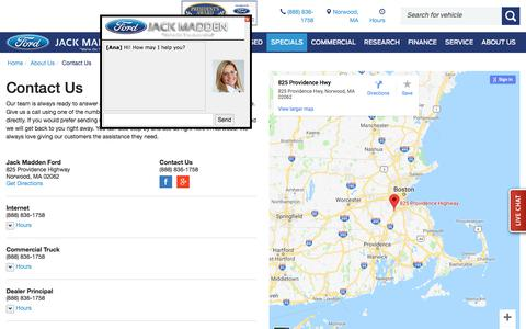 Screenshot of Contact Page Maps & Directions Page jackmaddenford.com - Contact Jack Madden Ford | New Ford Dealership in Norwood, MA - captured Sept. 20, 2018