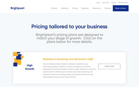 Brightpearl Software Pricing Plans | Brightpearl