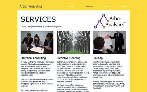 Screenshot of Services Page arboranalytics.com - Arbor Analytics Services - captured Nov. 21, 2016