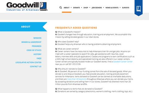 Screenshot of FAQ Page goodwillar.org - FAQ | Agency and Mission | Donation - captured Nov. 12, 2016