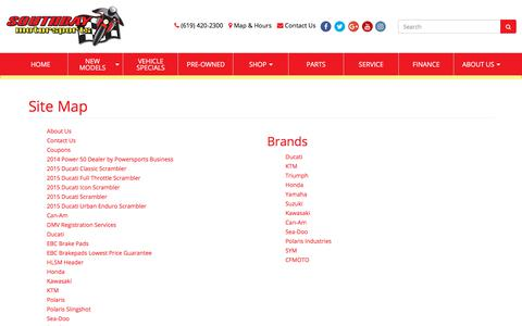 Screenshot of Site Map Page sbmotor.com - Site Map Southbay Motorsports Chula Vista, CA (619) 420-2300 - captured Oct. 23, 2017