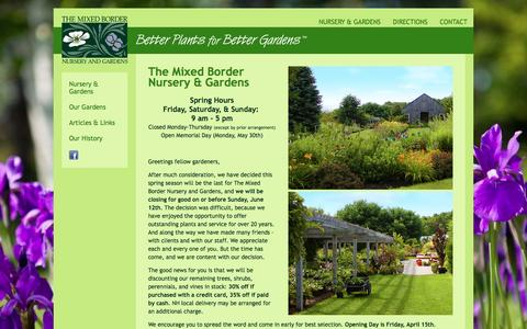 Screenshot of Home Page Hours Page themixedborder.com - The Mixed Border Nursery & Gardens - captured June 22, 2016