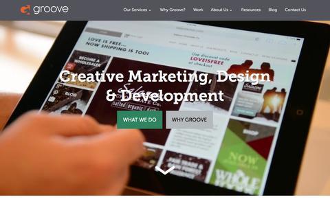 Screenshot of Home Page gotgroove.com - Magento Gold Partner | Hubspot Platinum Partner | Groove: Creative Marketing, Design & Development - captured Jan. 20, 2016