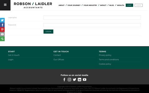 Screenshot of Login Page robson-laidler.co.uk - Client Login | Robson Laidler | Log in to your online portal - captured Oct. 16, 2019