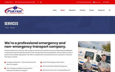 Screenshot of Services Page patriotambulance.net - Emergency Transport & Services | Patriot Ambulance in Flint - captured Dec. 7, 2018