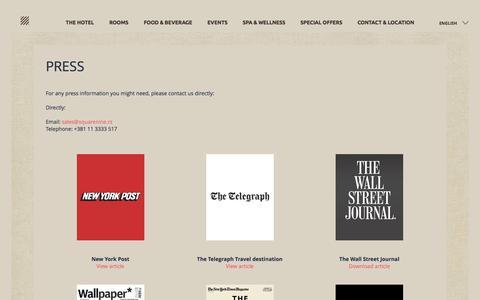 Screenshot of Press Page squarenine.rs - PRESS AND AWARDS - SQUARE NINE HOTEL Belgrade - captured Dec. 21, 2016