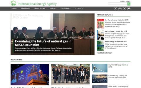 Screenshot of Home Page iea.org - International Energy Agency - captured Sept. 30, 2017