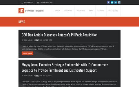 Screenshot of Press Page idcomlog.com - News Archives - iD Commerce + Logistics - captured July 24, 2018