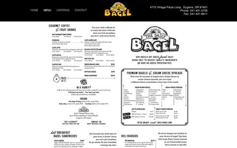 Screenshot of Menu Page daily-bagel.com - Daily Bagel - Bagels Baked Fresh Daily - captured Dec. 16, 2016