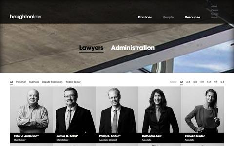 Screenshot of Team Page boughtonlaw.com - Canada's West Coast Law Firm | Boughton Law - captured Sept. 19, 2014