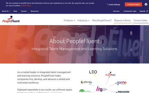 Screenshot of About Page peoplefluent.com - About PeopleFluent - captured Feb. 13, 2019