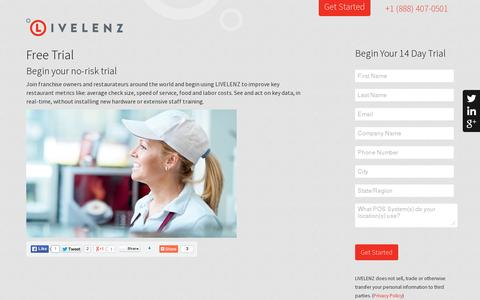 Screenshot of Trial Page livelenz.com - Begin your complimentary 14 Day Trial of LIVELENZ - captured July 19, 2014