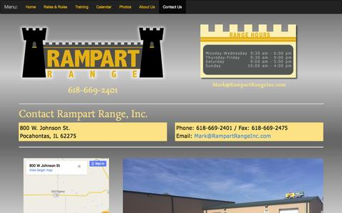 Screenshot of Contact Page rampartrangeinc.com - Shooting Range | Pocahontas, Illinios | Rampart Range, Inc. - captured Feb. 26, 2016