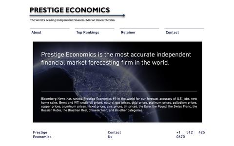 Screenshot of Home Page prestigeeconomics.com - Prestige Economics | Forecaster | Economy | Commodity | Currency | Oil - captured Dec. 15, 2018