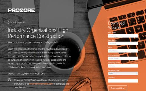 Screenshot of Landing Page procore.com - Industry Organizations' High Performance Construction - captured March 22, 2016