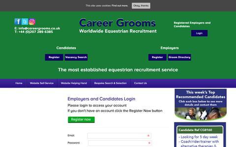 Screenshot of Login Page careergrooms.co.uk - Login - Career Grooms - captured Sept. 27, 2018