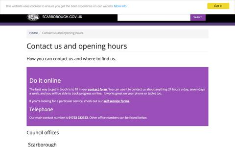 Screenshot of Contact Page scarborough.gov.uk - Contact us and opening hours | SCARBOROUGH.GOV.UK - captured July 5, 2017