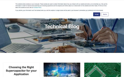 Screenshot of Blog kemet.com - Technical Blog | Engineering Center - captured Oct. 31, 2019