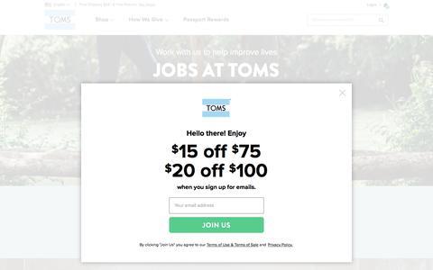 Screenshot of Jobs Page toms.com - Jobs at TOMS | TOMS® - captured Jan. 28, 2018
