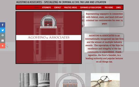 Screenshot of Home Page agostinolaw.com - Agostino & Associates - Criminal and Civil Tax Law - captured Oct. 17, 2016