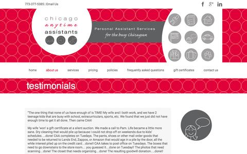 Screenshot of Testimonials Page chicagoanytimeassistants.com - testimonials | Chicago Anytime Assistants - captured Dec. 8, 2015
