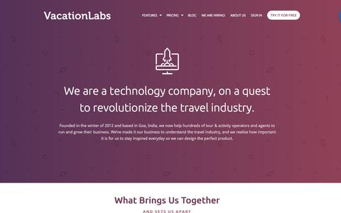 Screenshot of About Page Contact Page vacationlabs.com - About Us | Vacation Labs - captured Sept. 20, 2018