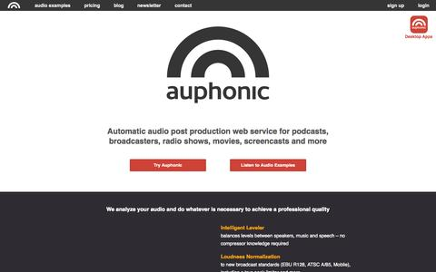 Screenshot of Home Page auphonic.com - Auphonic - captured Oct. 21, 2015