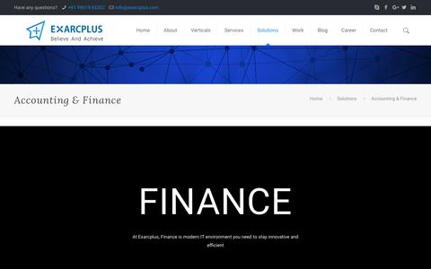 Accounting & Finance - Exarcplus Mobile Apps Pvt Ltd.