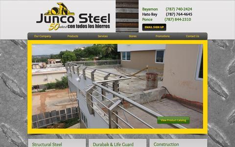 Screenshot of Home Page juncosteel.com - junco-steel - captured Feb. 11, 2016
