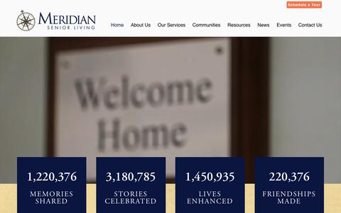 Screenshot of Home Page meridiansenior.com - Meridian Senior Living | Senior Living Community Near You - captured March 12, 2018