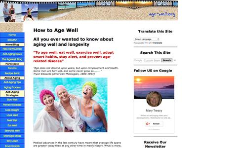 Screenshot of Home Page age-well.org - age well - anti-aging, longevity & senior health information on how to stay well - captured March 28, 2017