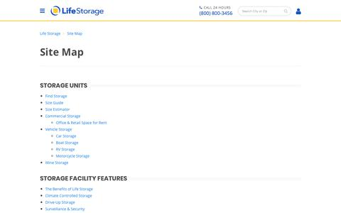 Screenshot of Site Map Page lifestorage.com - Life Storage Website Site Map - captured Feb. 8, 2018
