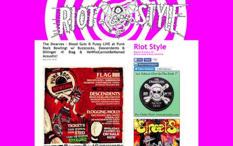 Screenshot of Blog riotstyle.com - The Riot Style Bloglin! ☠ The Dwarves Blag Dahlia VCR S.T.R.E.E.T.S. Vancouver BC Canada New York Brooklyn NY Skate Punk Thrash Style Label Collective Records   » The Riot Style Bloglin! - captured June 9, 2016