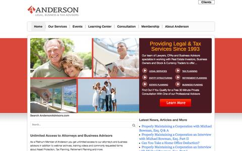 Screenshot of Home Page andersonadvisors.com - Asset Protection and Tax AdvisorsAnderson Advisors - captured Sept. 25, 2014