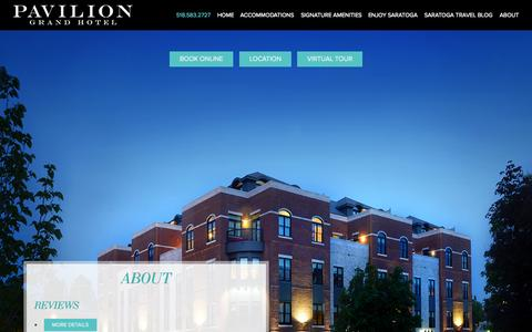 Screenshot of About Page paviliongrandhotel.com - Luxury Downtown Saratoga Springs Hotel   Pavilion Grand Hotel   Pavilion Grand Hotel - captured Oct. 2, 2014
