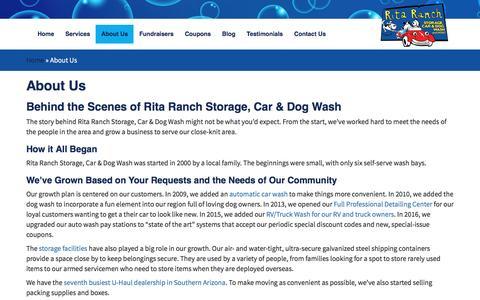 Screenshot of About Page ritaranch.net - About Us - Rita Ranch Storage Car & Dog Wash - captured Nov. 30, 2016