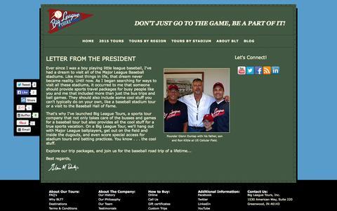 Screenshot of About Page bigleaguetours.com - About Us | Baseball Trips | Big League Tours - captured Oct. 29, 2014
