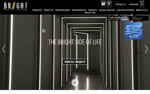 Screenshot of Home Page bright.gr - Lighting Products, BRIGHT lighting company in Greece, interior lighting - captured Feb. 7, 2016